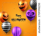 halloween background with scary ... | Shutterstock .eps vector #1709598250