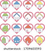stay at home icon 16set | Shutterstock .eps vector #1709603593