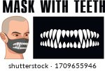 mask of face with skull and... | Shutterstock .eps vector #1709655946