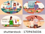 smiling man and woman cooking... | Shutterstock .eps vector #1709656036