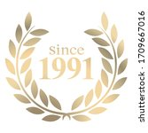 Year 1991 gold laurel wreath vector isolated on a white background