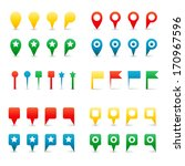 colorful map pins. isolated on... | Shutterstock . vector #170967596