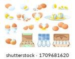 fresh and boiled eggs. broken... | Shutterstock .eps vector #1709681620