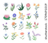 set of flat spring floral icons ... | Shutterstock .eps vector #1709691019