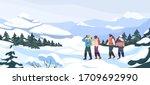group of cartoon backpacker...   Shutterstock .eps vector #1709692990