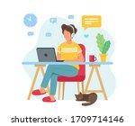 home office concept  man...   Shutterstock . vector #1709714146