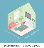 fitness or workout at home... | Shutterstock .eps vector #1709731933