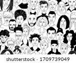 decorative diverse women's men... | Shutterstock .eps vector #1709739049