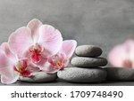 Spa Stones And Pink Orchid On...