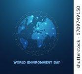 earth globe icon inside network ... | Shutterstock .eps vector #1709749150