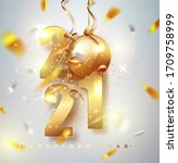 happy new 2021 year. holiday... | Shutterstock .eps vector #1709758999