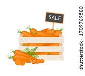 carrots in a wooden box with a... | Shutterstock .eps vector #1709769580