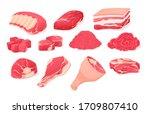 meat fresh steaks cartoon set....   Shutterstock .eps vector #1709807410