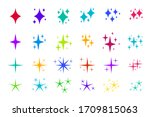 colorful flat sparkles icons... | Shutterstock .eps vector #1709815063