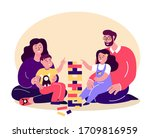 happy smiling family playing... | Shutterstock .eps vector #1709816959