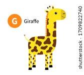 Letter G. Giraffe. Zoo Animal...