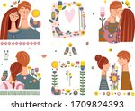 romantic collection of... | Shutterstock .eps vector #1709824393