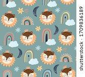 childish seamless pattern... | Shutterstock .eps vector #1709836189