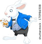 Stock vector white rabbit with pocket watch 170986508