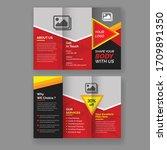fitness gym tri fold brochure...   Shutterstock .eps vector #1709891350