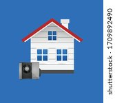 house and heat pump.conceptual... | Shutterstock .eps vector #1709892490