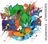 Typography Print Dinosaur On...