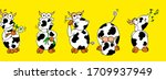 funny cows with flowers ... | Shutterstock . vector #1709937949