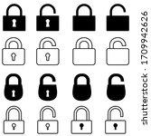 lock vector icon set. open or... | Shutterstock .eps vector #1709942626
