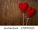 Love Hearts On Wooden Texture...