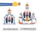 preparing space rocket for... | Shutterstock .eps vector #1709945233