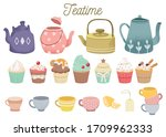the collection of cute teatime... | Shutterstock .eps vector #1709962333