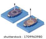 vector isometric rocket landing ...   Shutterstock .eps vector #1709963980