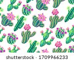 Seamless Pattern With Cacti And ...