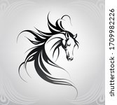 vector silhouette of a horse's... | Shutterstock .eps vector #1709982226