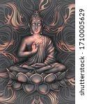 shining and glowing buddha in a ...   Shutterstock . vector #1710005629