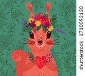 Cute Red Squirrel In A Flower...