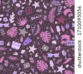 seamless pattern with summer...   Shutterstock . vector #1710095056