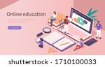 students learning online at... | Shutterstock .eps vector #1710100033