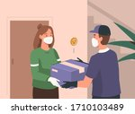 delivery man wearing medical... | Shutterstock .eps vector #1710103489