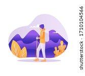 man with backpack  traveller or ... | Shutterstock .eps vector #1710104566