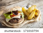 delicious burger with beef ... | Shutterstock . vector #171010754