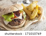 delicious burger with beef ... | Shutterstock . vector #171010769