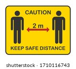keep safe distance yellow... | Shutterstock .eps vector #1710116743