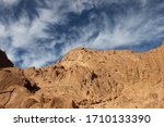 Small photo of A beautiful landscape in the midst of the rocky mountains in a magnificent, beautiful landscape in St. Catherine, Egypt