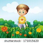 illustration of a young boy in... | Shutterstock . vector #171015620