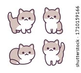 tiny baby kitten hand drawn... | Shutterstock .eps vector #1710159166