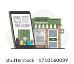 mobile phone with internet... | Shutterstock .eps vector #1710160039