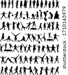collection of silhouettes of... | Shutterstock .eps vector #1710165979