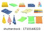 bath and kitchen towels flat... | Shutterstock .eps vector #1710168223