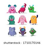funny monsters cartoon... | Shutterstock .eps vector #1710170146